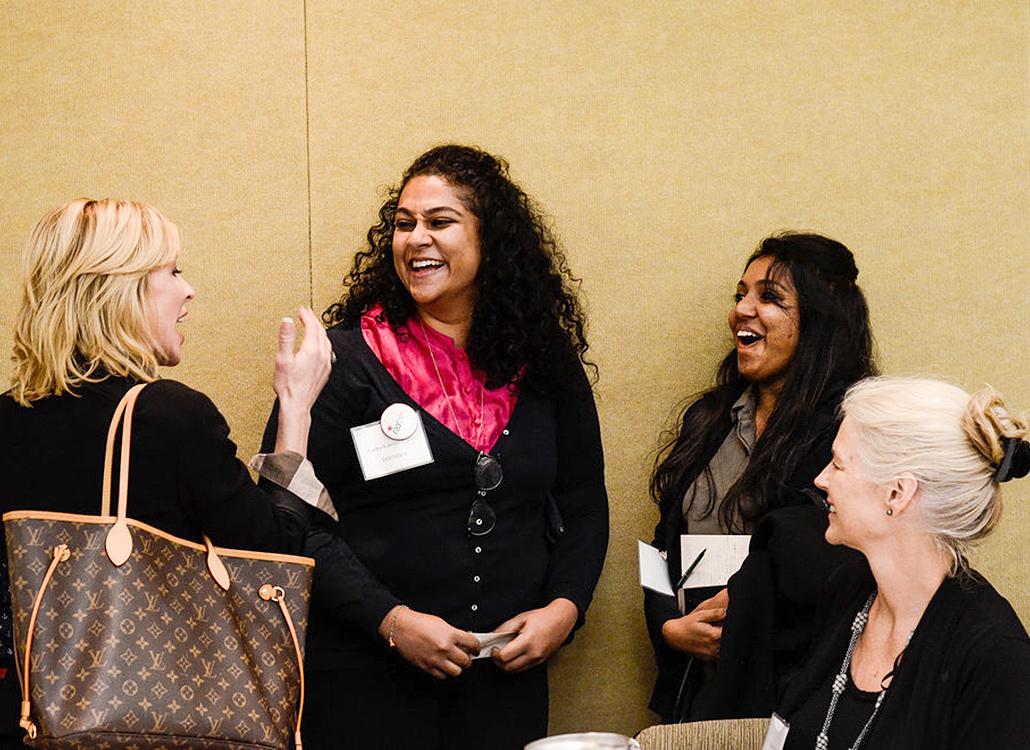 Raybaby founders Aardra Kannan Ambili and Ranjana Nair talking at an event