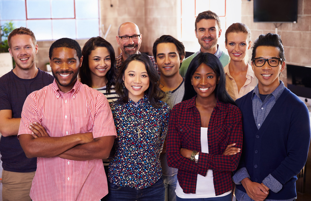 diverse group of tech industry employees